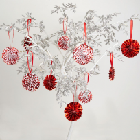 Merry Christmas Red & White Tree Decoration Pinwheels (10)
